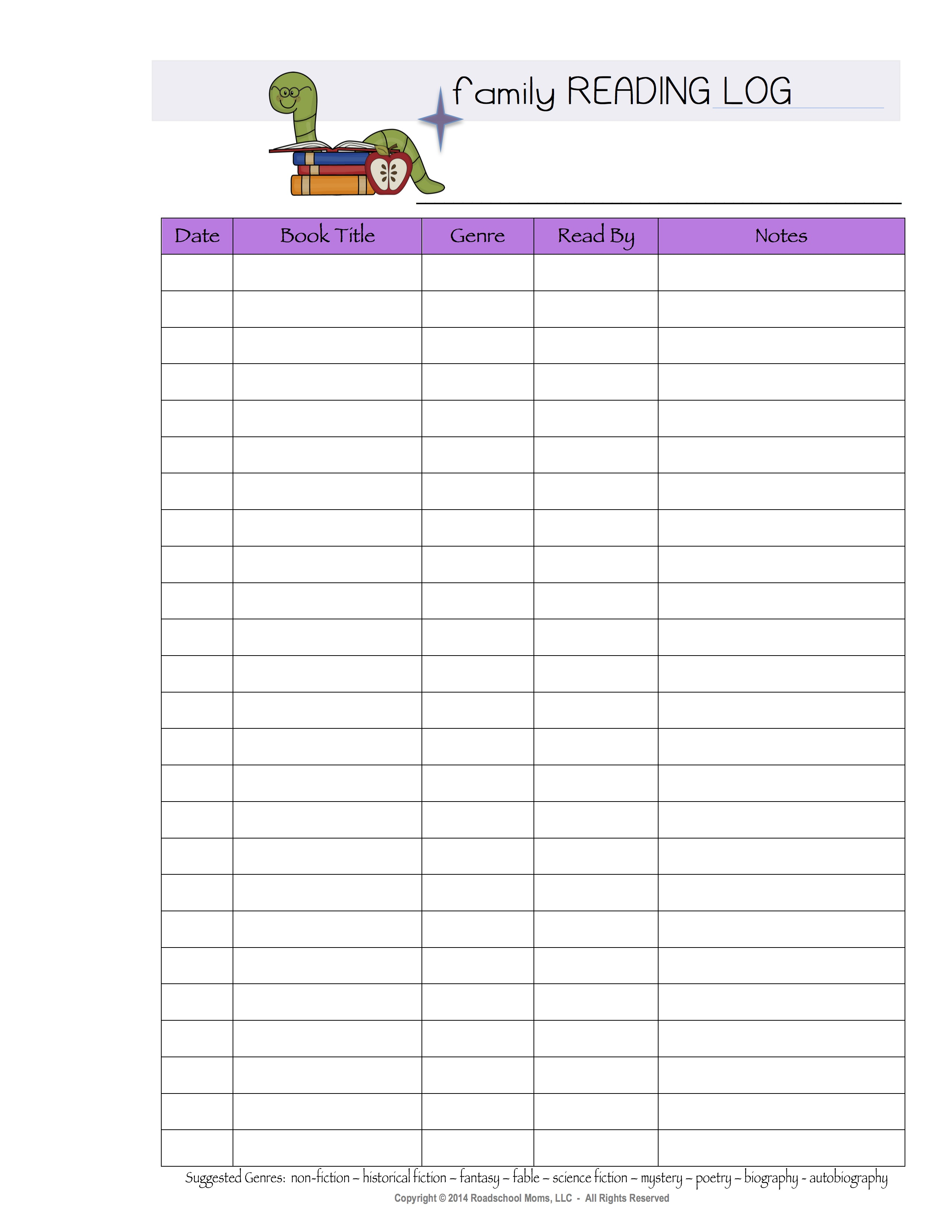 family reading log free add to cart sku 2014ffp027 category free ...