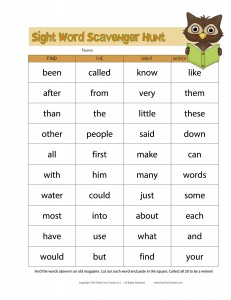 Sight Word Scavenger Hunt