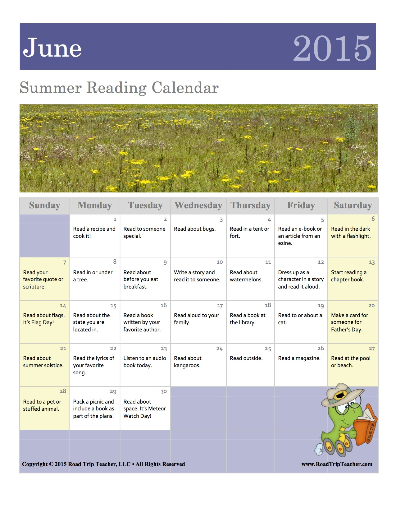 June Calendar Girl Read : June reading calendar family educational resources